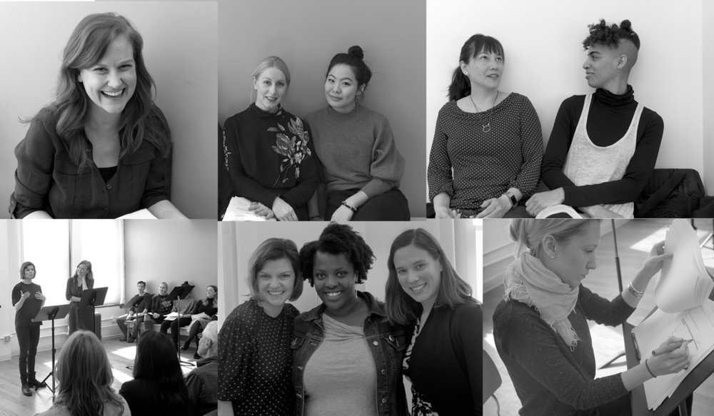 Top row: Heidi Armbruster; Elizabeth M. Kelly and Nicole Kang; Donna Eis and Sharahn LaRue Bottom row: Reading at Primary Stages in NYC in March 2018; Mary Bacon, Heather Alicia Simms, and Mathilde Dratwa; Mae Mitchell All photos courtesy Bob Van Degna.