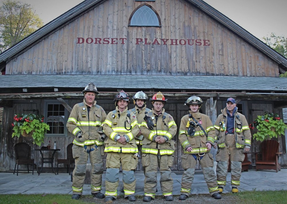 Members of the Dorset Volunteer Fire Department stopped by the Playhouse ahead of the first Community Partner Night of the season, to be held in their honor on Thursday, June 28.