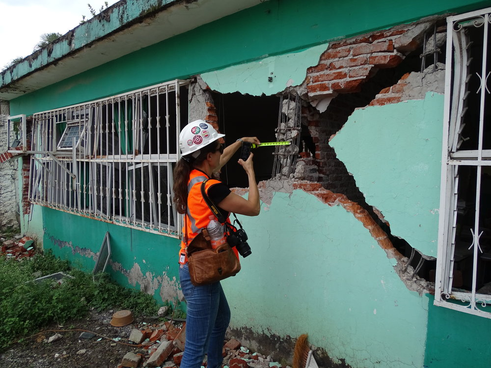 Measuring column size and reinforcement details at a school in Jojutla