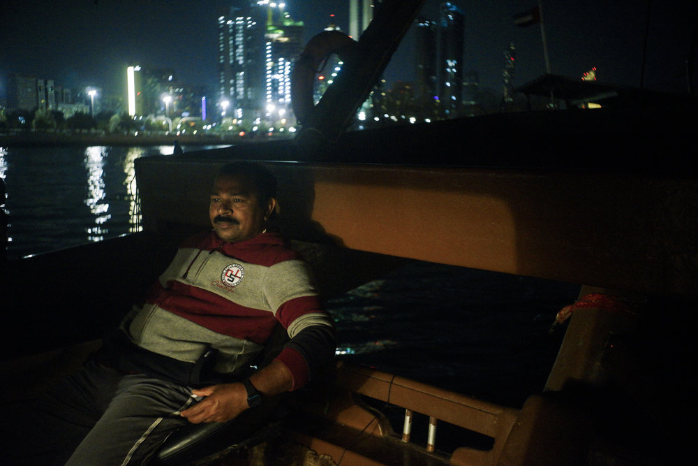 Eddy Krishna is the captain of the wooden trawler, but an Emirati owns the boat. The owner claims half of what the five fishermen catch out at sea. Rising operational and equipment costs worry Eddy Krishna.