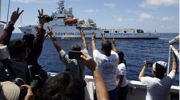 A supply ship from The Philippines in a stand off with Chinese Coast Guard, March 2014.  (Image Source)