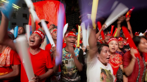 Supporters of the National League for Democracy (NLD) celebrating the successful election    (Image Source)   .