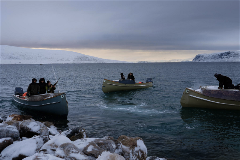 Inuit boats in the Arctic ( source )