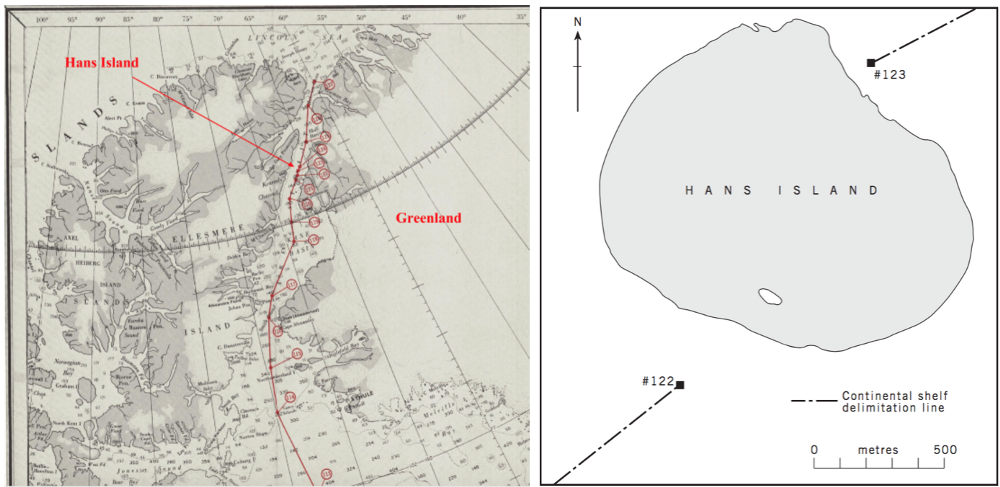 "(Left)  Canada-Greenland Continental Shelf Boundary  — (Right) Micheal Byers, ""Who owns the Arctic"" (p.23)."