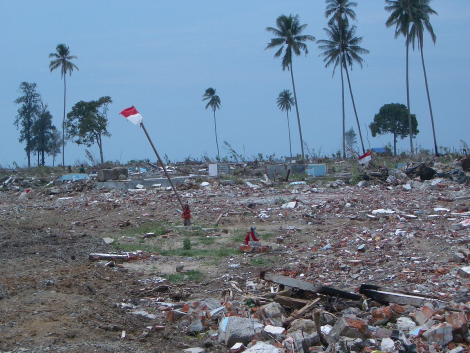 Damage left in the path of the 2004 Tsunami in Aceh, Indonesia, which ultimately left an estimated 250,000 people dead, missing, or displaced. Photo: AusAID.