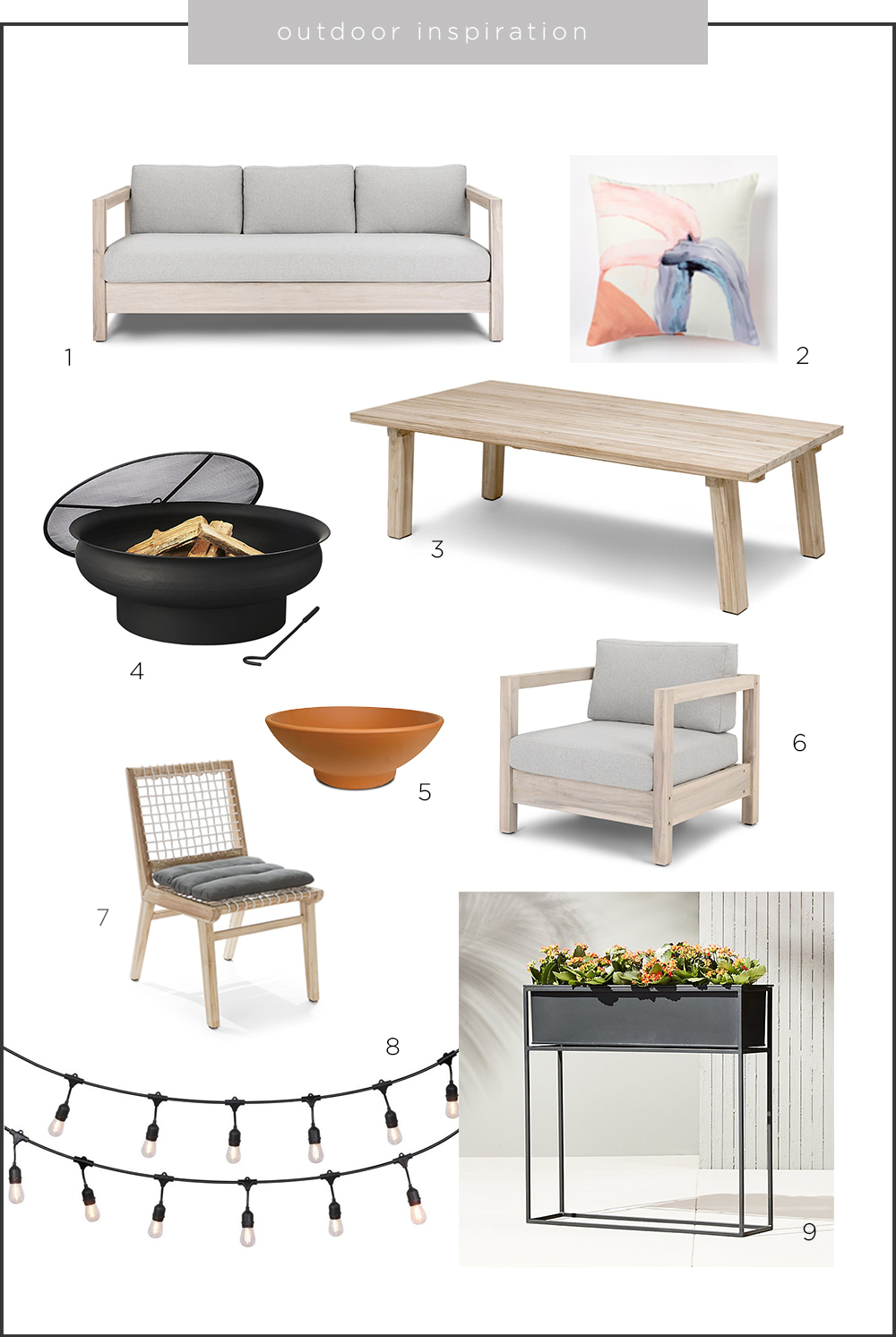 1.  Arca Driftwood Gray Sofa  | 2.  Tuscan Coral Outdoor Pillow  | 3.  Teaka Dining Table for 8  | 4.  Urli Firepit  | 5.  Low Bowl Planter  | 6.  Arca Driftwood Gray Lounge Chair  | 7.  Teaka Dining Chair  | 8.  LED String Lights  | 9.  Kronos Outdoor Planter