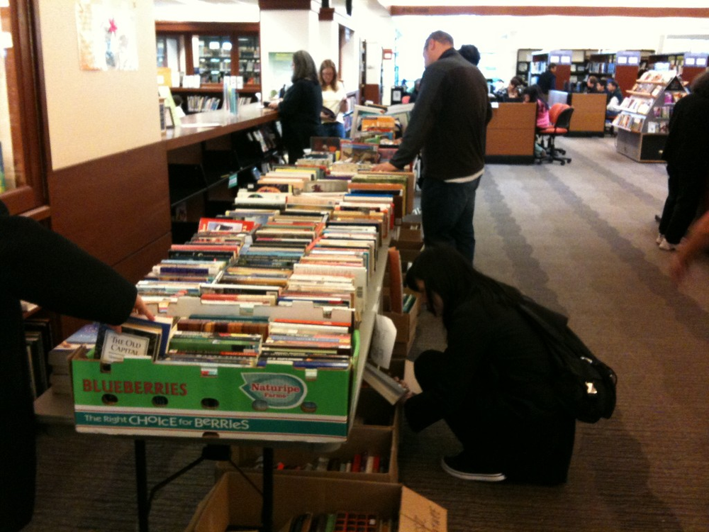 Shoppers at the Friends of the Mercer Island Library's book sale in April, 2011.
