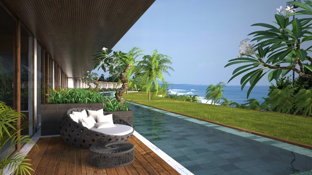 The Beach Front Pool Suites are even larger than the suite rooms overlooking the Lombok Strait with island views to Nusa Lembongan and leading onto a Horizon edge dip pool. The Beach Front Pool Suites feature a private day bed and dining area, Luxury marble bath and Italian bathroom fittings, Writing desk for two, LCD TV with PayTV, Luxury linen, robes and towels, in-room safe, Mini bar and In room dining and concierge service. The suite rooms are larger than the Resort rooms and offer additional luxuries such as pillow menu, evening turn down service, a retracting TV console and outdoor setting. Online Booking fees apply.