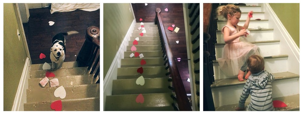 We had so much fun with our trail of hearts! Mya dog joined in the fun too!