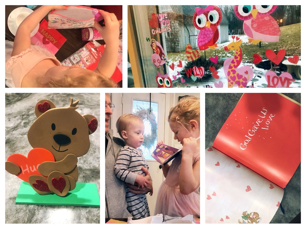 We did a Valentine bear craft and read a book about love! Some stickers and presents made for an extra special time.