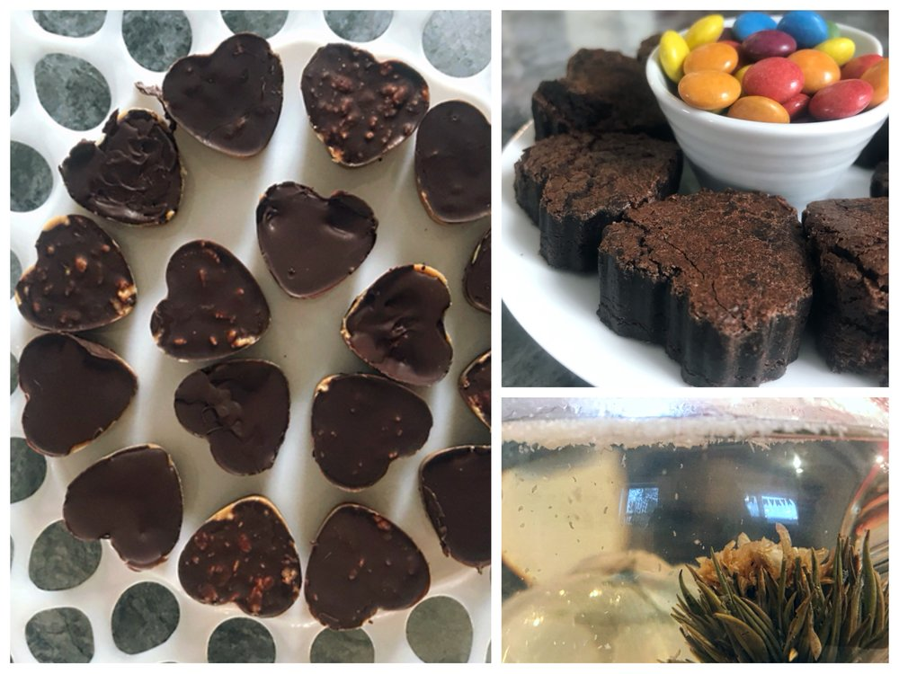 At our tea party we had some special blooming tea and valentine's treats! Check out the Delectable Flour-less Brownie recipe and Peanut Butter Bar recipe  HERE !