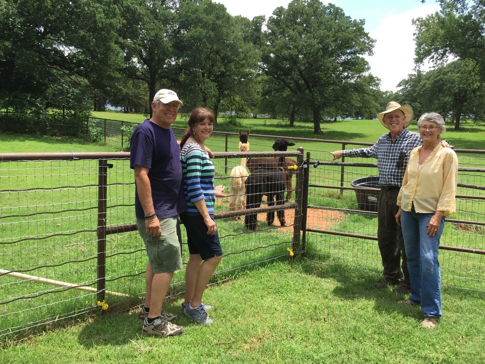 June 2015 we welcomed our first alpacas to the ranch - Hallie, Hopi and Ophira.  Here we are with John & Janice Robinson, our alpaca mentors.