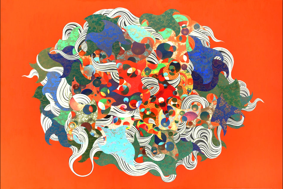 Pema Rinzin (1966 - ), Peace and Energy 1, 2009. Ground mineral pigments and gold on cloth, 41 x 61 in. Collection of the artist.