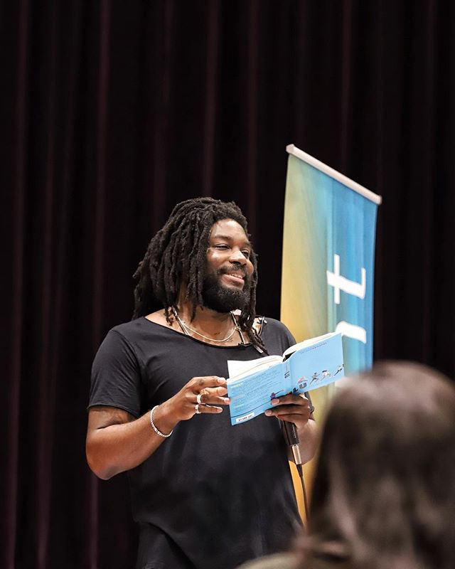 November 4—Jason Reynolds reads from LU, the final book in his bestselling TRACK series, to a full auditorium of young readers, educators, and parents in Houston, TX. He's one of the best speakers we've had the honor to hear.