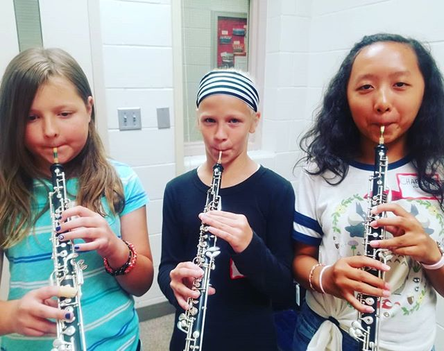 After only ONE day of beginning band camp we've already got some pretty stellar oboe embouchures!!! #oboe #doublereed #oboeyoudidnt #oboethang #oboepower #bandcamp #musiccamp