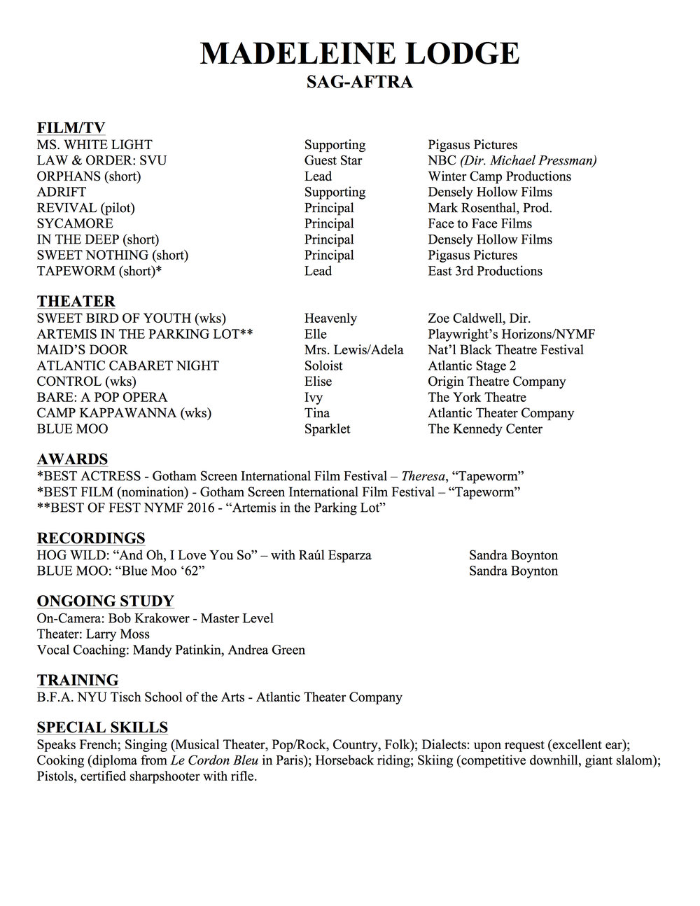 Resume — MADELEINE LODGE
