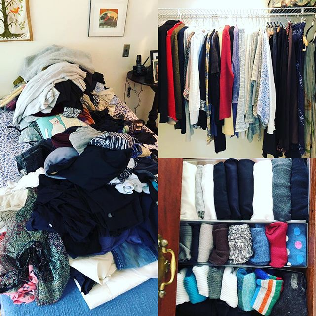 Helped my mother yesterday start tidying her condo. She told me before I arrived that she didn't have any clothes! 😆 #KonMari #youhavewaymorethanyouthink #declutteryourlife #konmarifoldingmethod #clothingcategoryfirst #grateful