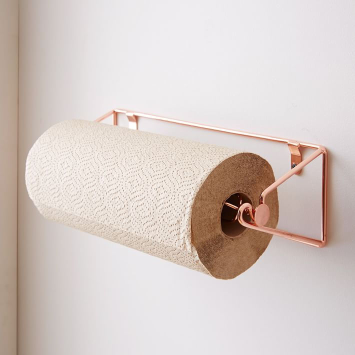 Our current paper towel holding situation involves some sort of black ugly upright thing that no one really wants on their countertop. Enter this copper paper towel holder from West Elm for only $24. Class up the kitchen and declutter the counter in an instant. Sign me up.  westelm.com