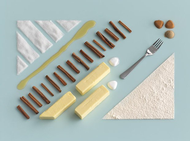 A supremely compelling deconstructed flatlay from  Carl Kleiner  for IKEA's  Homemade is Best  cookbook.