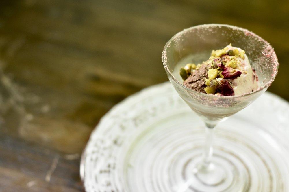 Chocolate Mousse/ Rose-cardamon Whipped Cream/Pistachio Dust