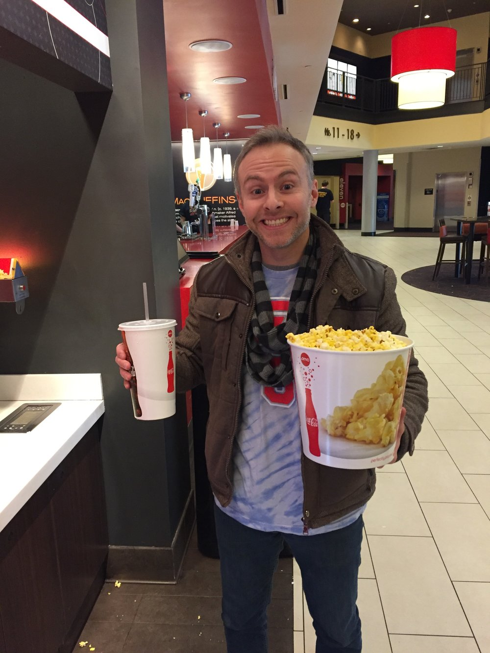 Andy doesn't normally get THAT big of a popcorn and pop, but he does LOVE going to the movies