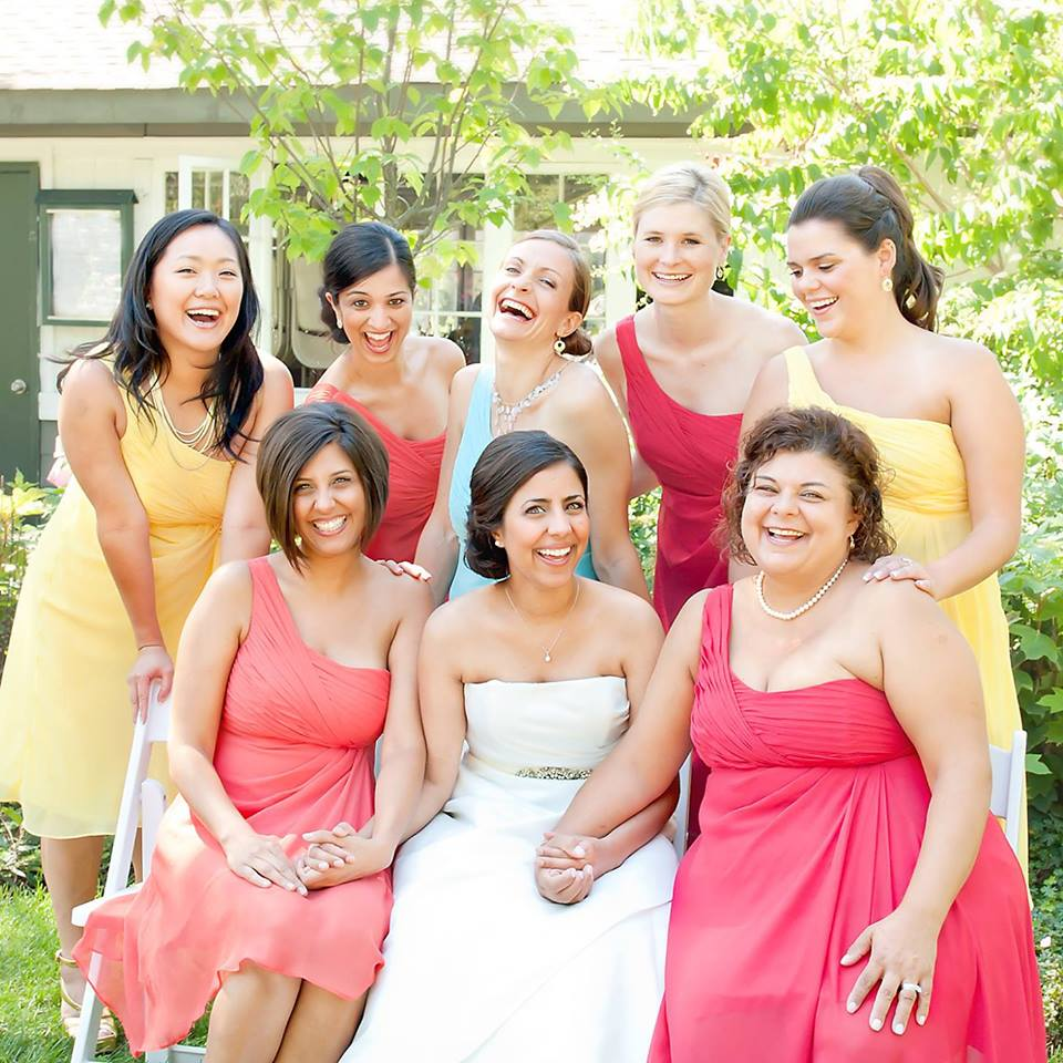 Sheela and her best gals, including our sisters and friends, at our wedding
