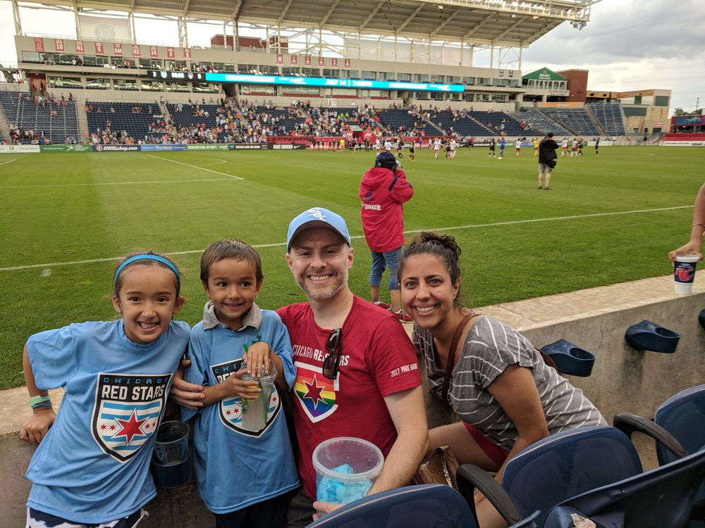 Cheering on the Chicago Women's Soccer team, the Red Stars, with our niece and nephew