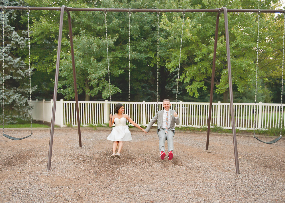 Just swinging on our wedding day!