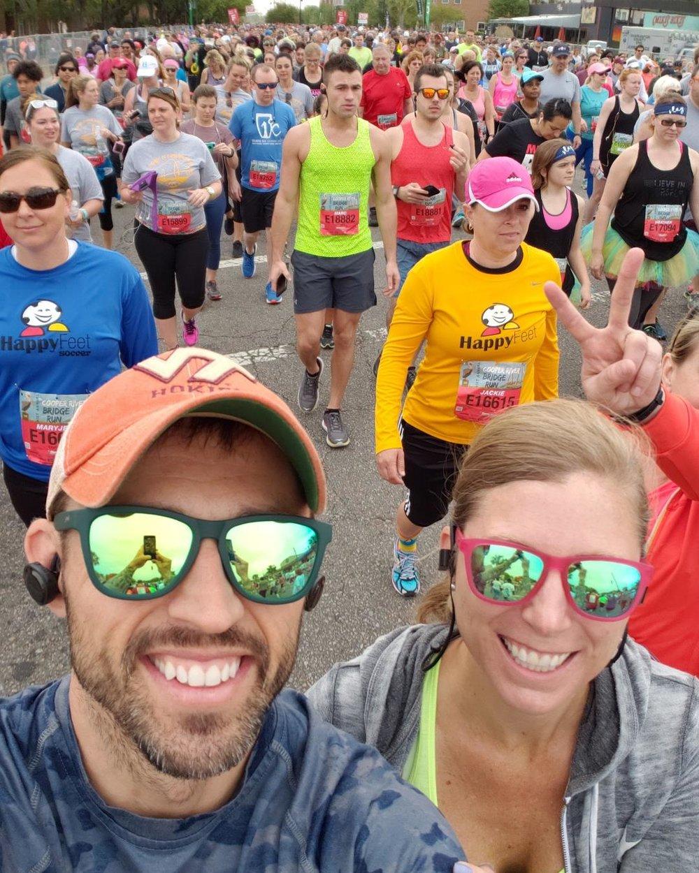 Our favorite run together - Cooper River Bridge Run in Charleston, SC