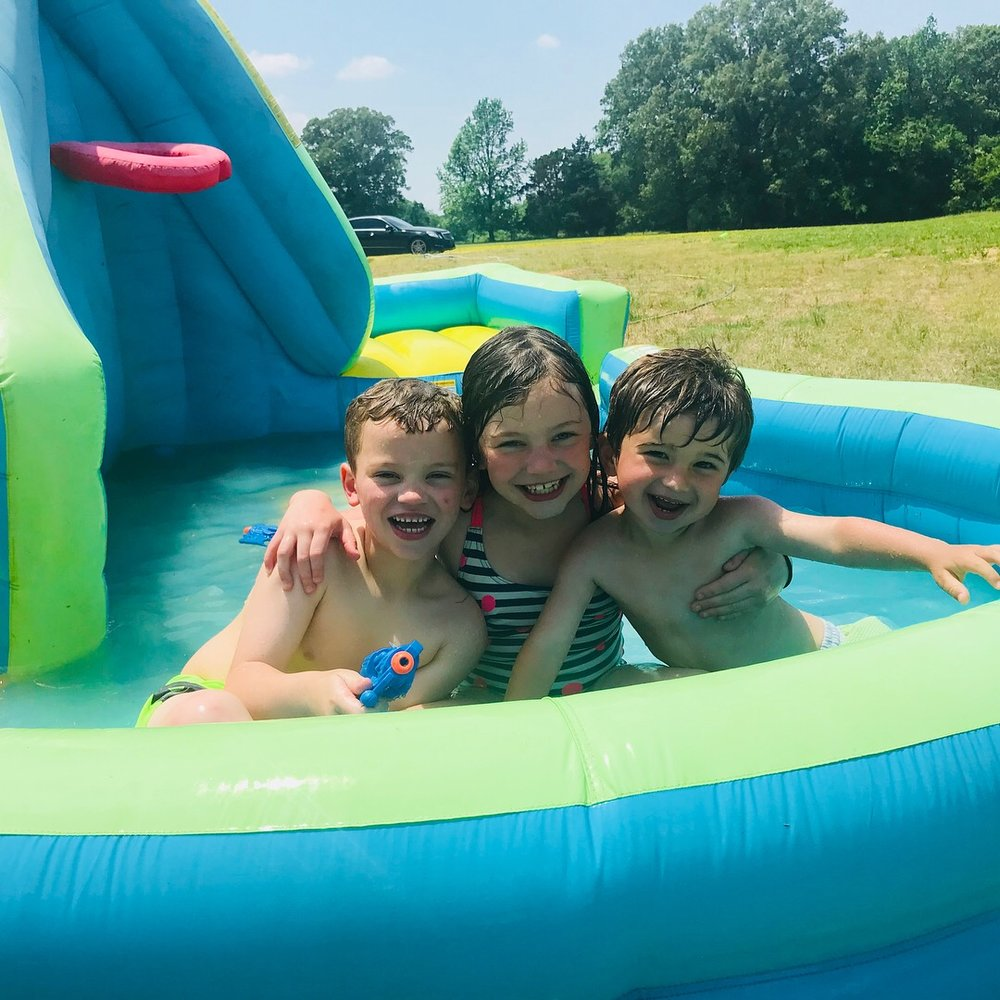 Fun day on the waterslide with cousins