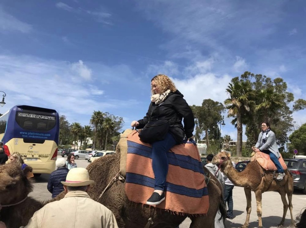 Keri rode a camel in Morocco