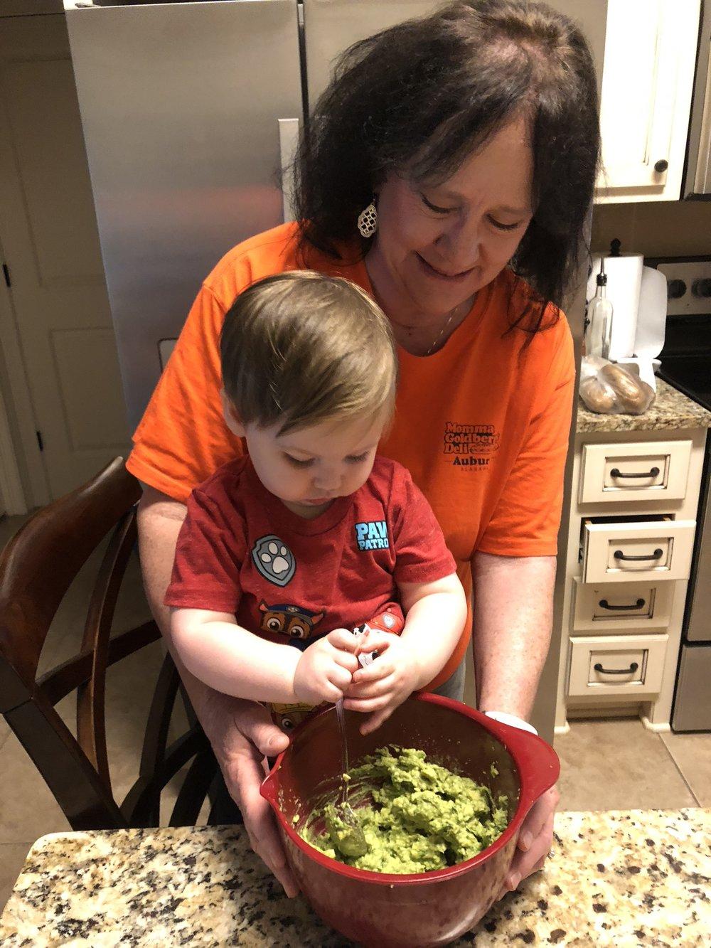Helping Mamaw make Guacamole