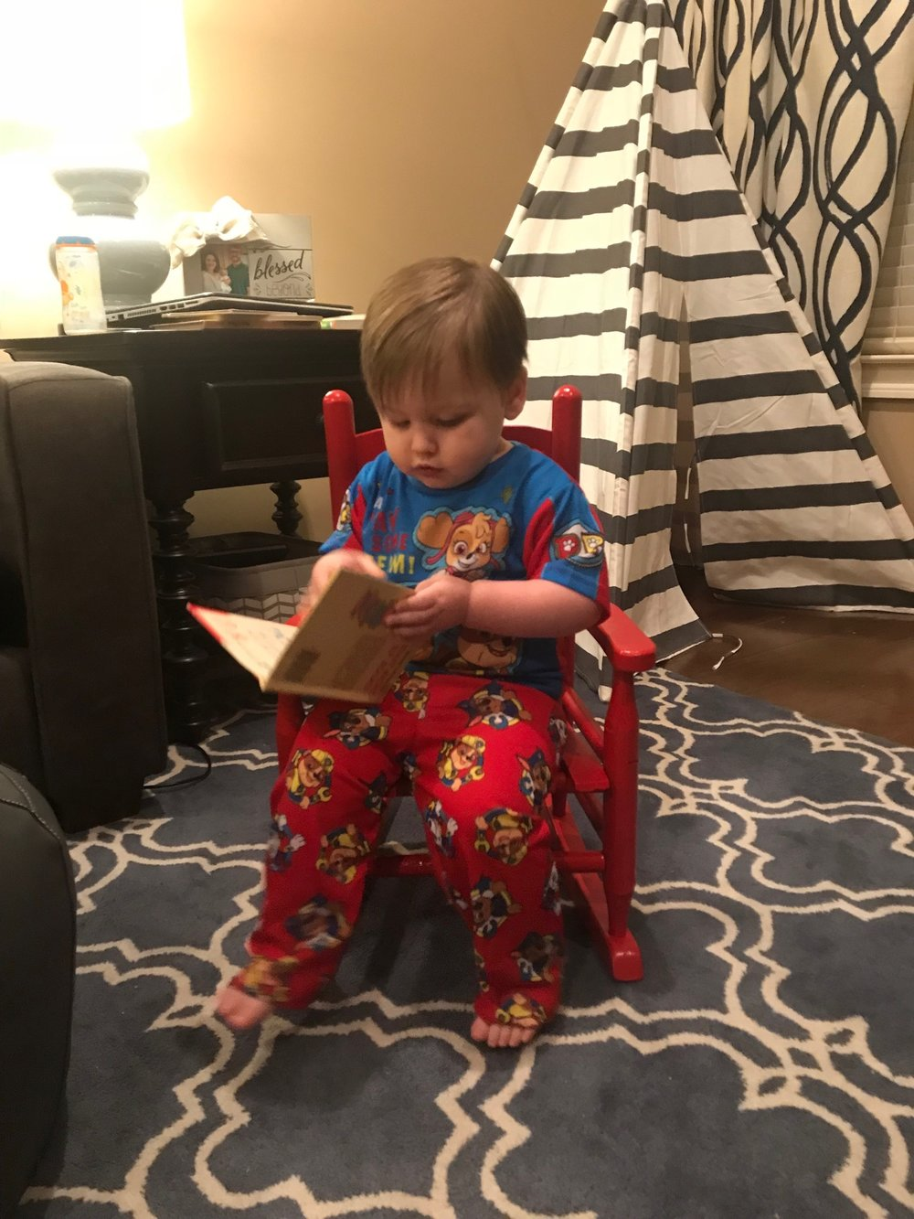 We read with Brady daily. He loves it