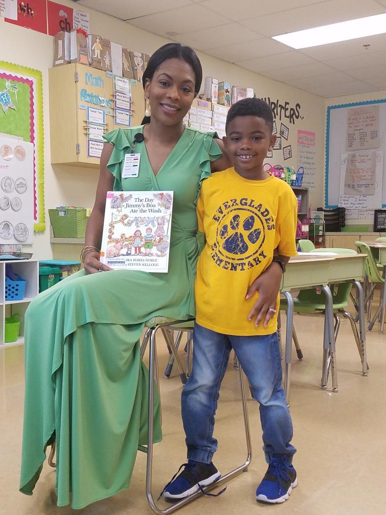 Reading to Roman's first grade class