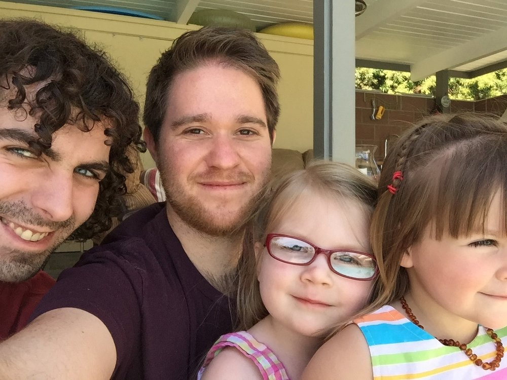 With our nieces, Myriam and Amelia