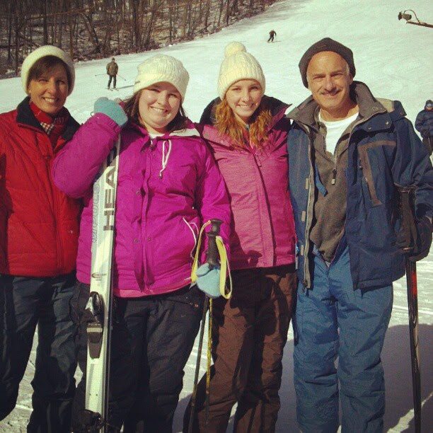 Skiing with the family.