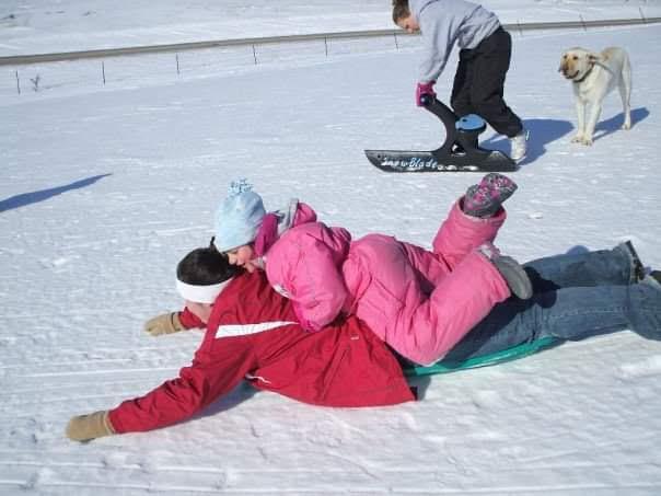 Fun sledding with my cousins.