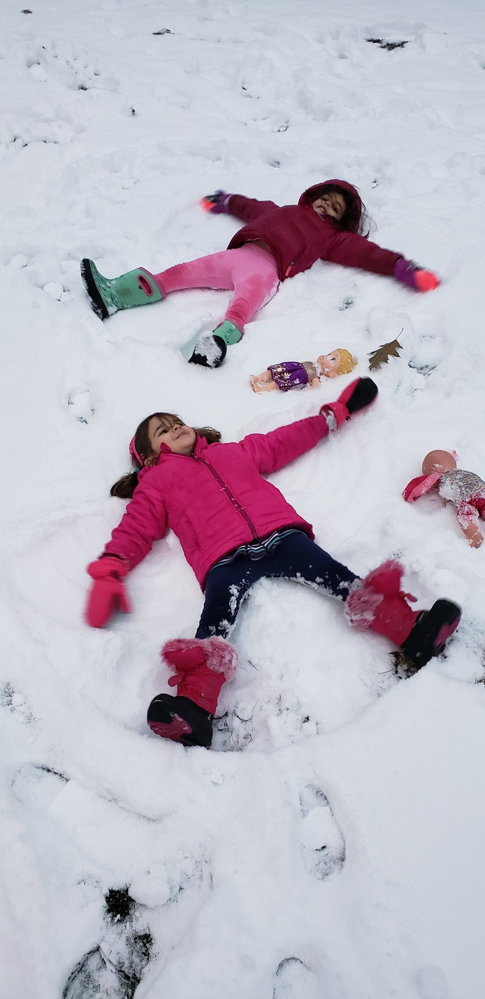 Making snow angels in our yard