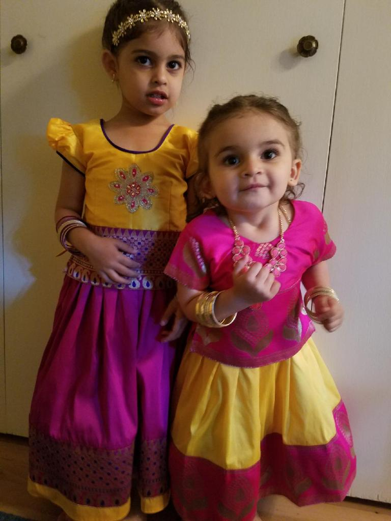 The girls in their Indian outfits