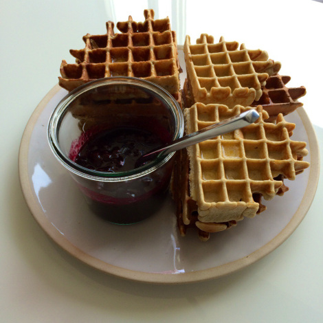 Protein Waffles With Blueberry Compote