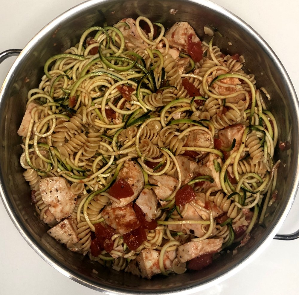 Chicken + Zucchini Noodle Pasta - DINNER TONIGHT, LUNCH TOMORROW