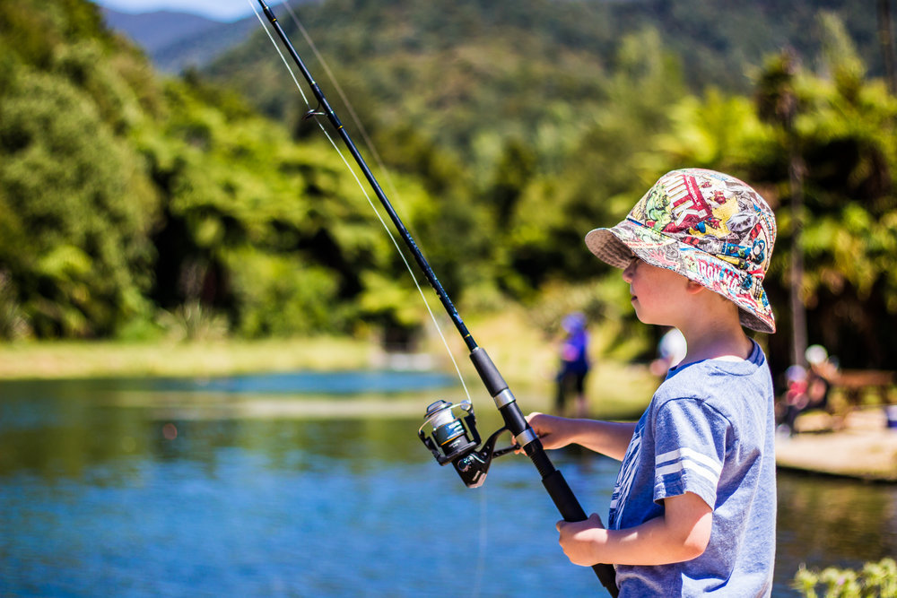1.Ask for yourFishing gear & find a spot on our lake -