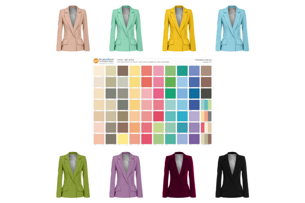 Light Spring palette and range of coloured jackets