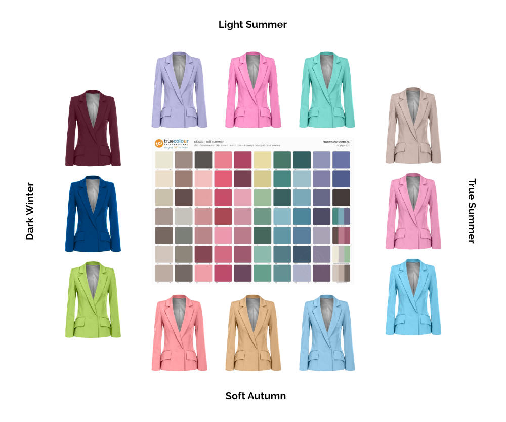 Soft Summer palette and jackets from Light Summer, True Summer, Soft Autumn and Dark Winter