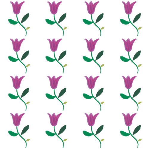 True Winter floral pattern with small disharmonious yellow-green leaf
