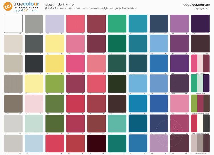 TCI Dark Winter classic palette