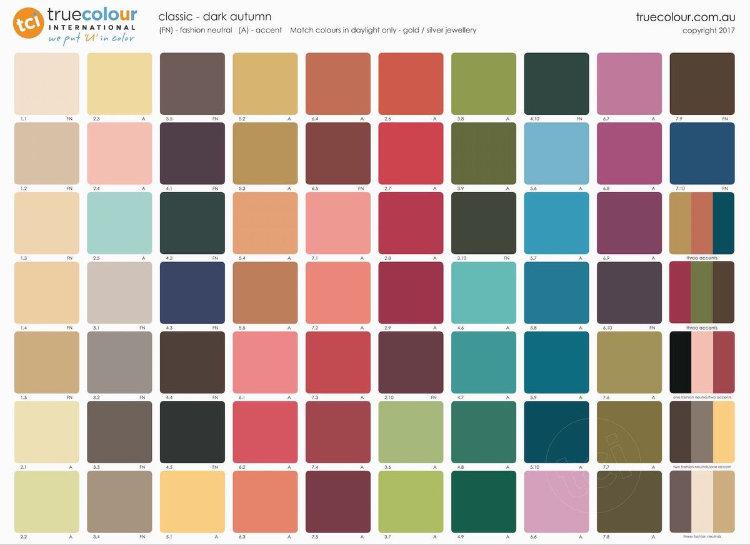 TCI Dark Autumn classic palette