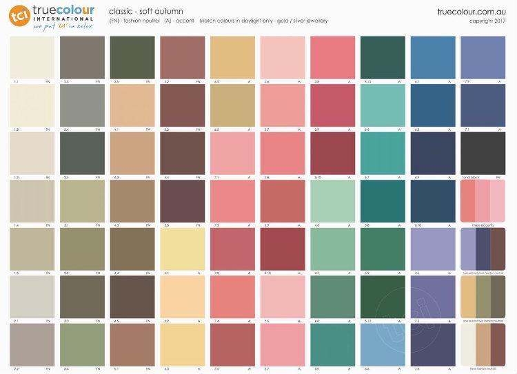 TCI Soft Autumn classic palette