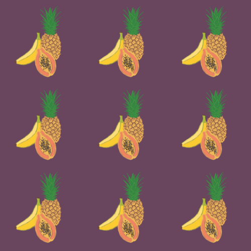 True Spring fruit pattern with Soft Autumn background
