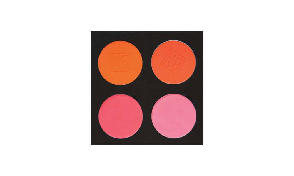 4 well palette from  Ben Nye , similar palette also available from  Makeup Mania   Top row:  Orange Zest ,  Blood Orange   Bottom row:  Pink ,  Pink Velvet